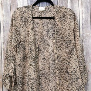 Anthropologie Pins And Needles Sheer Leopard Top S